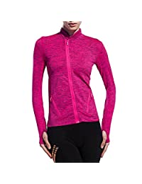 Cityoung Women's Slim Fit Yoga Jacket with Thumbholes