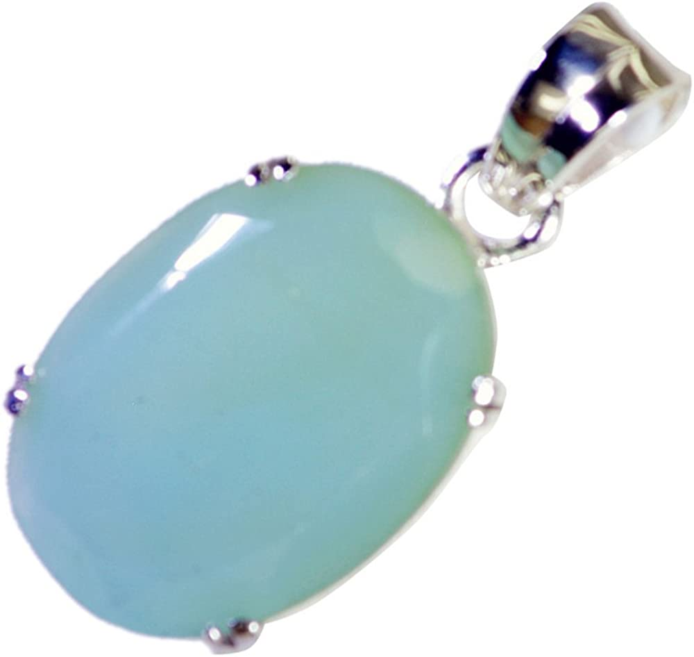 55Carat Natural Aqua Chalcedony Silver Pendant For Women Charms Birthstone Oval Shape Chakra Healing