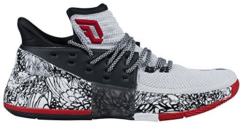 best service c0d94 affb1 adidas Dame 3 Shoe Mens Basketball 15 White-Core Black-Core Red