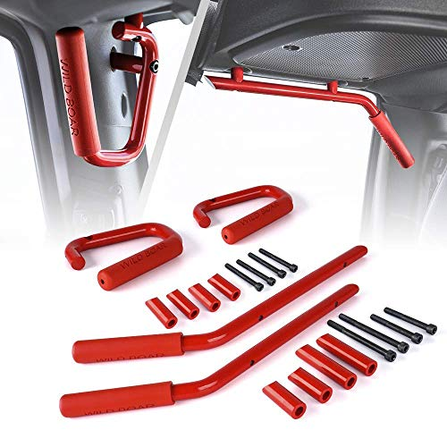 Front & Rear Red Hard Mount Solid Steel Grab Handle Bar for 2007-2018 Jeep Wrangler JK ()