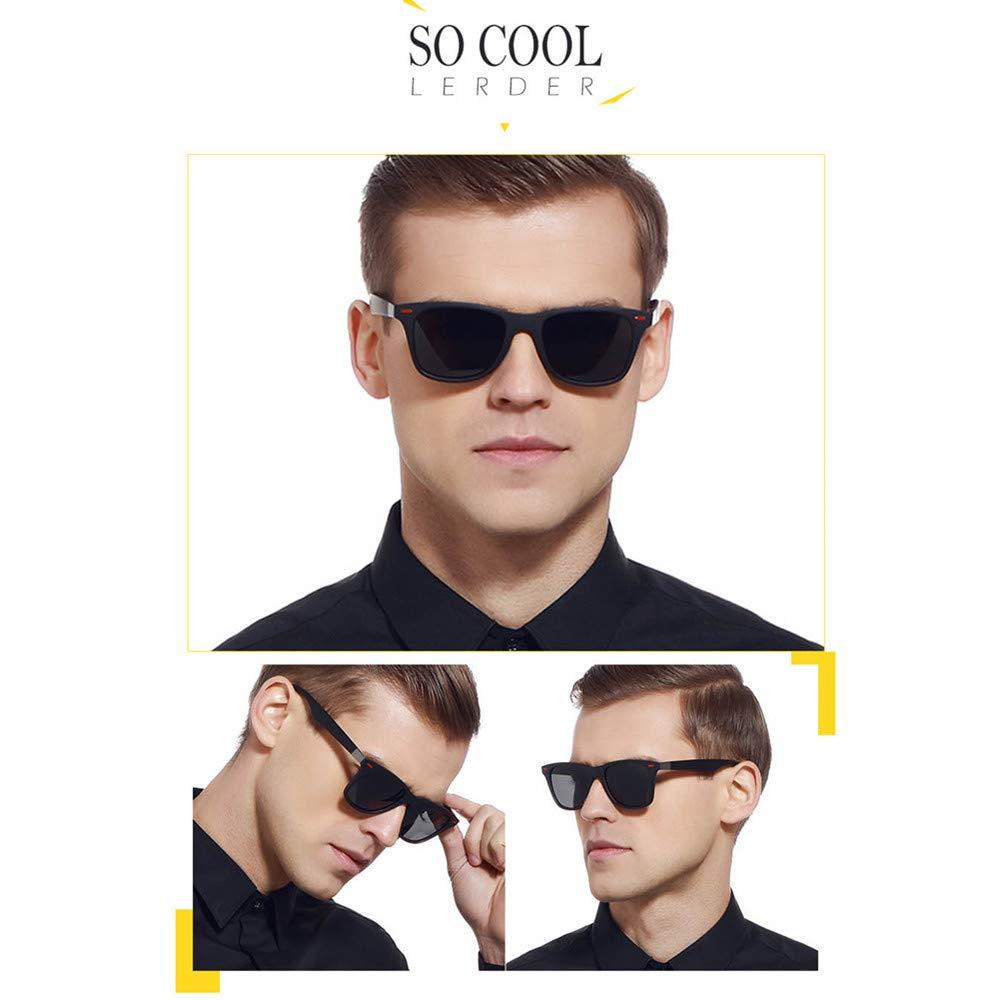 Lunettes de Soleil polarisées Homme Femme/Sports Eyewear réfléchissantes avec Sports de Plein air d\'été Conduite pêche Alpinisme Lunettes de Soleil Hommes (Black Grey)