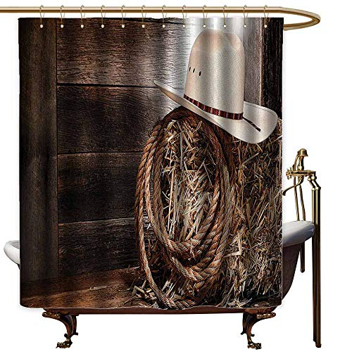 (Shower Curtain,Western Decor American West Rodeo Hat with Traditional Ranching Robe On Wooden Ground Folk Art Photo,Fabric Shower Curtain Bathroom,W72x84L,Brown Beige)