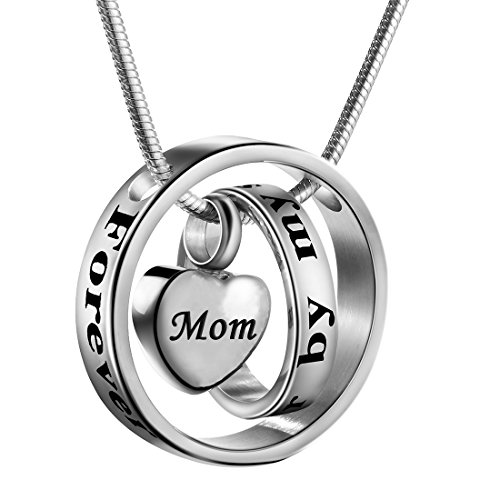 1 Mom Heart Locket - Cremation Jewelry No Longer By My Side, Forever In My Heart Carved Locket Cremation Urn Memorial Necklace Keepsake Urn Pendant For Dad (Mom)