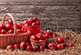 LFEEY 7x5ft Haymow Apples Harvest Backdrop Grunge Wooden Wall Farm Barn Hay Bale Photography Background Cloth Birthday Party Events Celebration Wallpaper Photo Studio Props