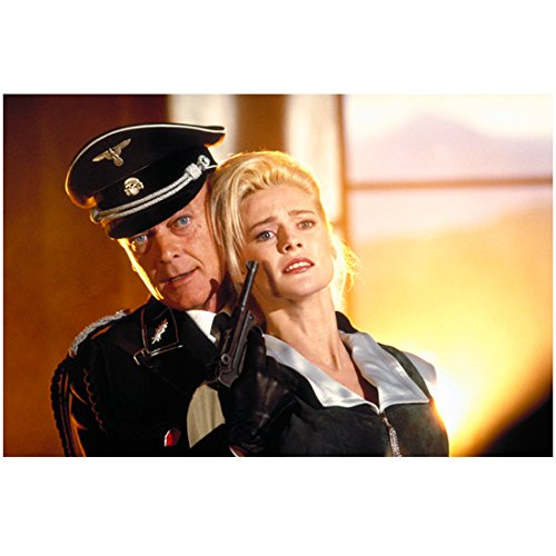 Alison Doody 8 Inch x 10 Inch PHOTOGRAPH Indiana Jones and the Last Crusade (1989) w/Michael Byrne Holding Gun to Face kn