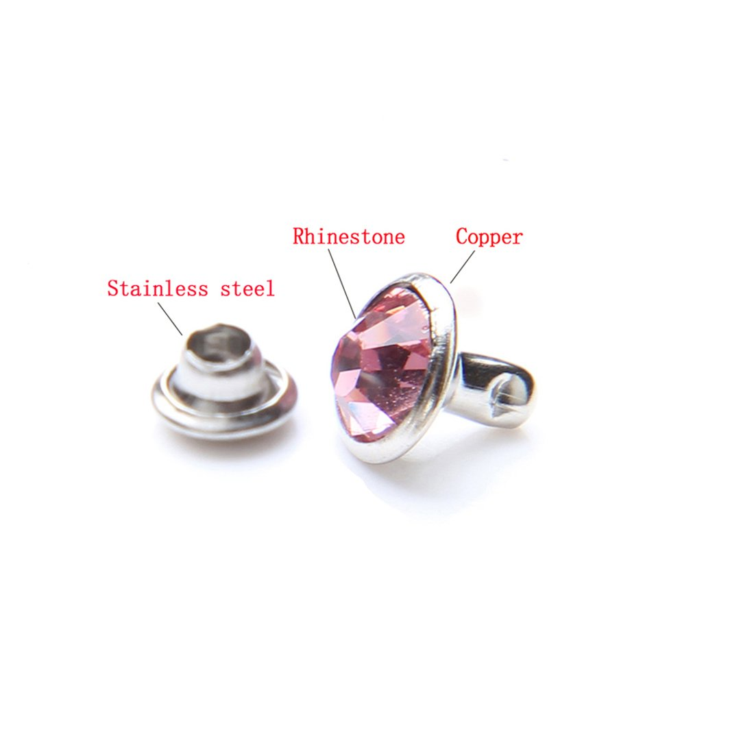 100 Sets Cz Colorful Crystal Rapid Rivets Silver Color Spots Studs Double Cap for DIY Leather-Craft 6MM, Mixed Color