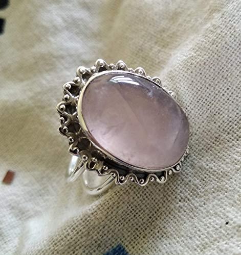(Rose quartz ring, 925 Sterling silver, Rose quartz silver ring, Unique ring, Rose quartz jewelry, Genuine ring, Handcrafted rose quart ring, Cabochon ring, Antique ring, Rose gems ring, Boho Chic)