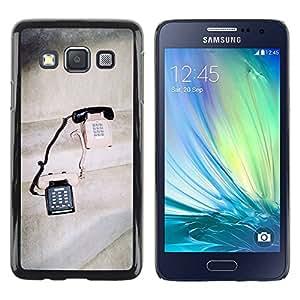 Paccase / SLIM PC / Aliminium Casa Carcasa Funda Case Cover para - Vintage Phones Cute Love Couple Sharing - Samsung Galaxy A3 SM-A300