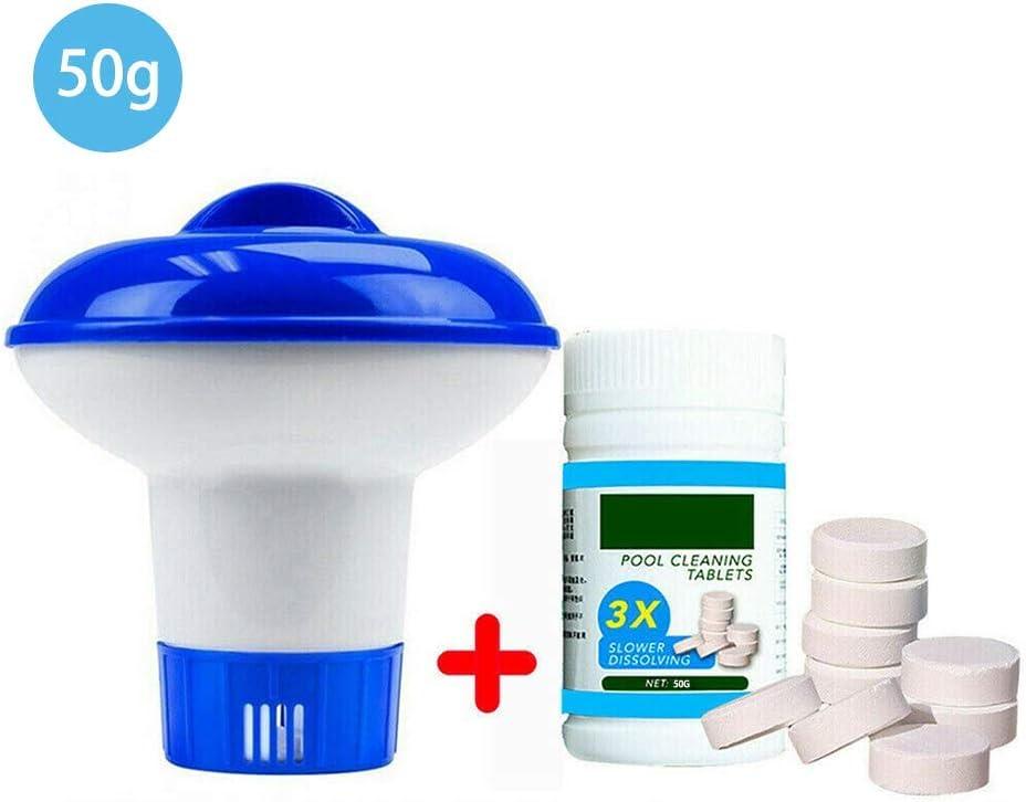 Huahua Kits De Mantenimiento Piscina,Dispensador Cloro Flotante +Efervescente Tabletas Limpiador,para para Piscina,BañEra De Hidromasaje, SPA