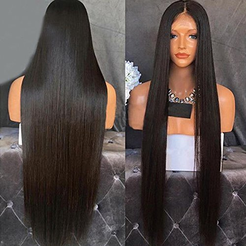 Lanting Hair Heat Resistant Fiber Hair Synthetic Wig Mermaid Black Color Silk Straight Synthetic Lace Front Wigs for Black Women(22inch lace front wig) (Front Lace Wigs Black)