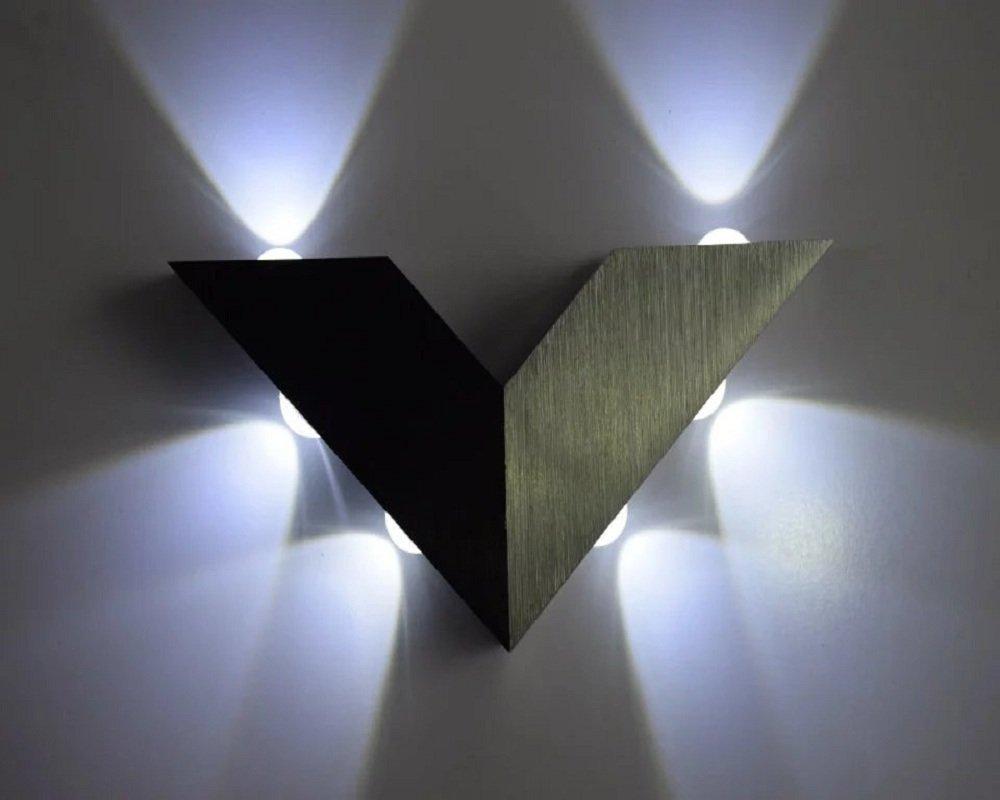 Lightess Applique Murale Intérieur LED 6W Lampe de Mur en Aluminium Style Triangle 6 LED Lumière pour Décoration pour Chambre Salon Bureau Salle de Bain - Blanc Froid LI-4291694