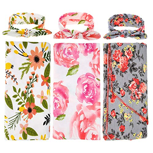 3 Pack BQUBO Newborn Floral Receiving Blankets Newborn Baby Swaddling with Headbands or Hats Toddler Warm