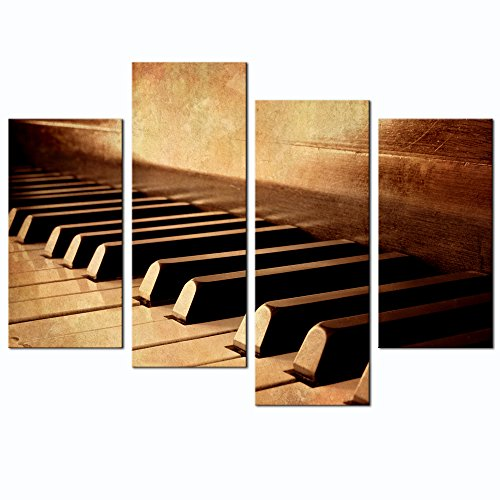 Live Art Decor - 4 Panels Wall Art Sepia Tone Piano Keys Pictures Print on Canvas Instrument Abstract Canvas Painting Giclee Print with Wood Frame,Modern Home - Art Key Wall