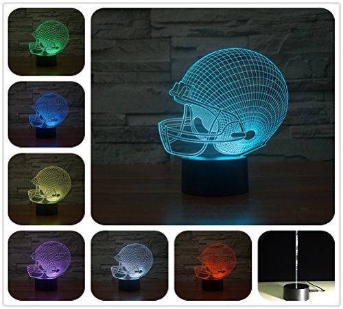 DowBier 3D Illusion Multi Colors USB Sleeping Night Light Desk Lamp Room Decoration (Football (Football Helmet Lamp)