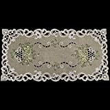 Linens, Art and Things Embroidered Green Leaf on Antique Green Fabric Table Runner Dresser Scarf Coffee Table Doily 14'' x 27''