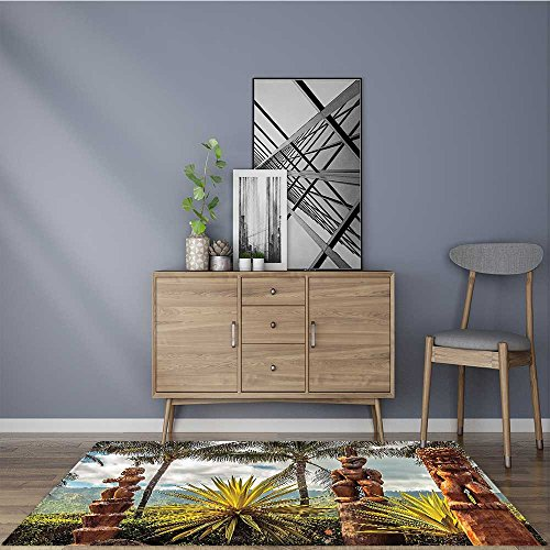 Stain Resistant Tropical Hawaii Tiki Mask Art Fine Art ations Brown Mustard Green White Rug for Kitchens 5' X 7' by Muyindo