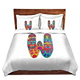 DiaNoche Designs Dora Ficher-Letter W Cover Brushed Twill, 6 Twin Duvet Sham Set