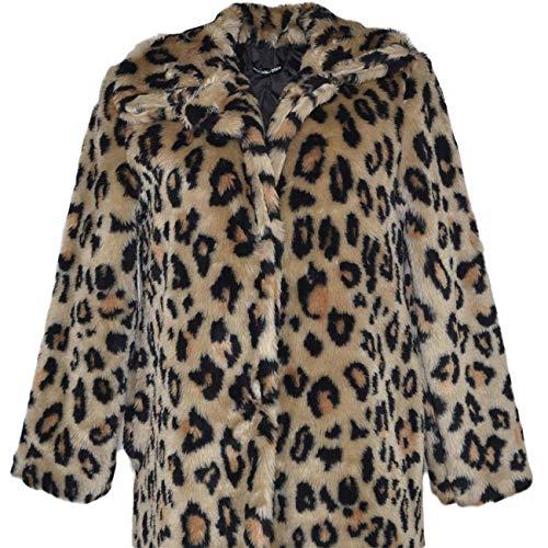 Bottoni Pelliccia Due E Lunga Spesso Molto Ecologica Giacca Leopardata Manica Donna Gdl Moda Trend Morbida Calda rxwx8A0gq
