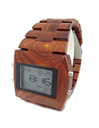 Handmade Wooden Watch Made with Natural Sandalwood in Dark Red- HGW-128