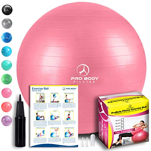Exercise Ball - Professional Grade Anti-Burst Fitness, Balance Ball for Pilates, Yoga, Birthing, Stability Gym Workout Training and Physical Therapy (Pink, 55cm)