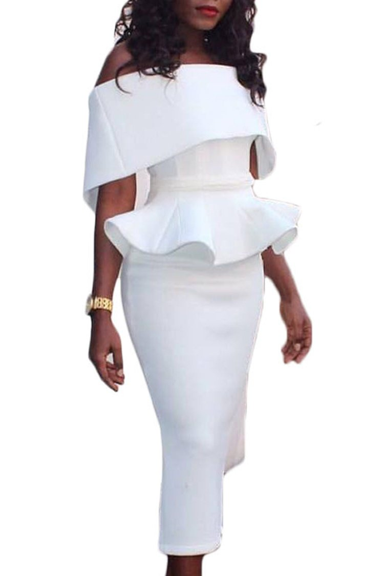 Herose Womens 2018 Spring Interlock Hourglass Shaped 1 Pc Dress USL/TagXL White