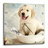 Cheap 3dRose dpp_172989_3 Cute Golden Retriever Puppy Spa Day Art Photo Courtesy Badestboss. Wall Clock, 15 by 15-Inch