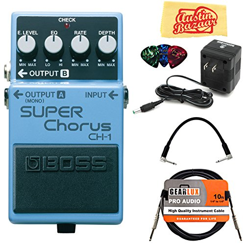 Boss CH-1 Super Chorus Bundle with Power Supply, Instrument Cable, Patch Cable, Picks, and Austin Bazaar Polishing Cloth (Boss Super Chorus)