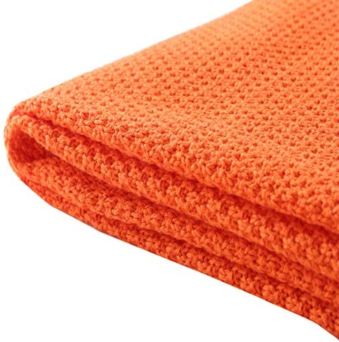 Soft 100/% Cotton Solid Decorative Knitted Sofa Bed Throw Blanket in 14 Colours