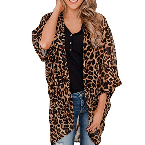 Aunimeifly Women Leopard Print Chiffon Cardigan Summer Leisure Outwear Vogue Sunscreen Smock Brown