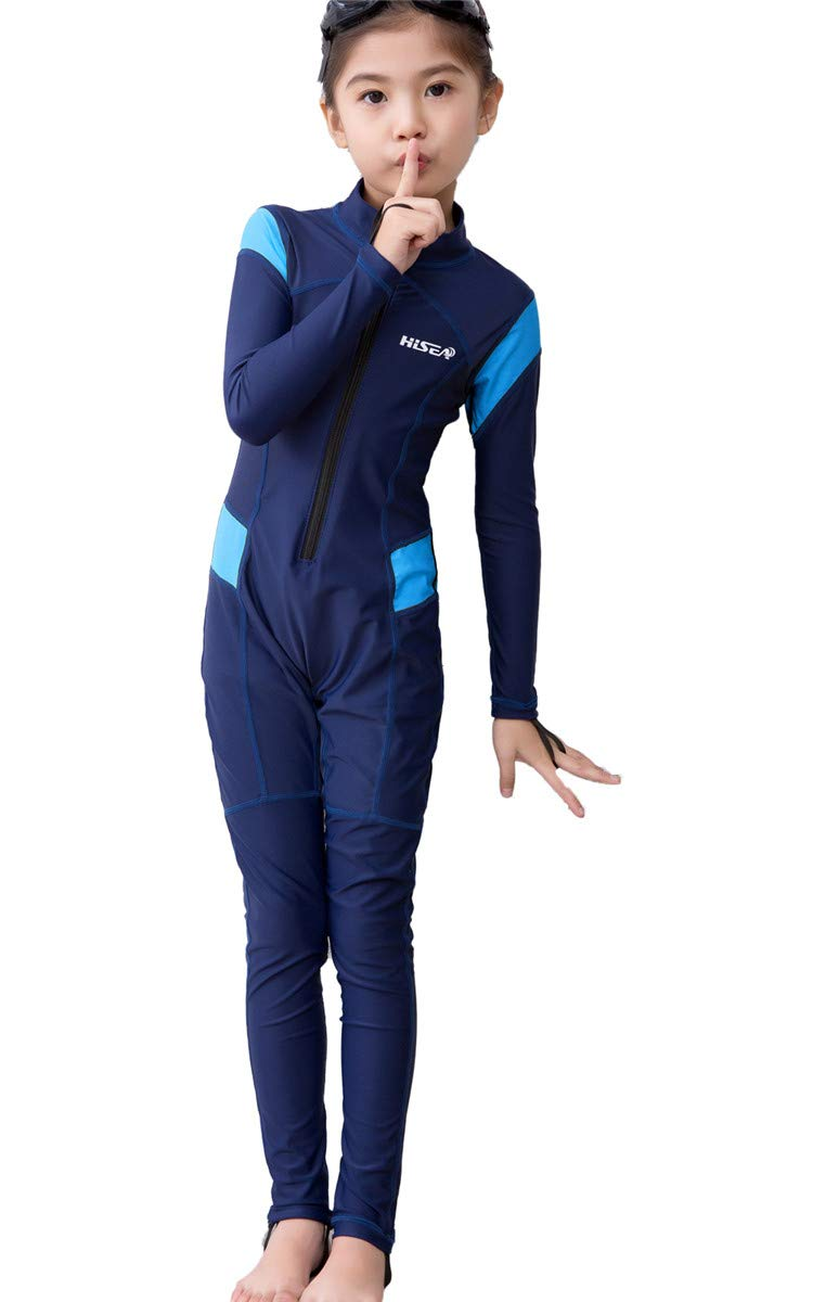 JELEUON Little Kids Girls One Piece Water Sports Sun Protection Rash Guard UPF 50+ Long Sleeves Full Suit Swimsuit Wetsuit