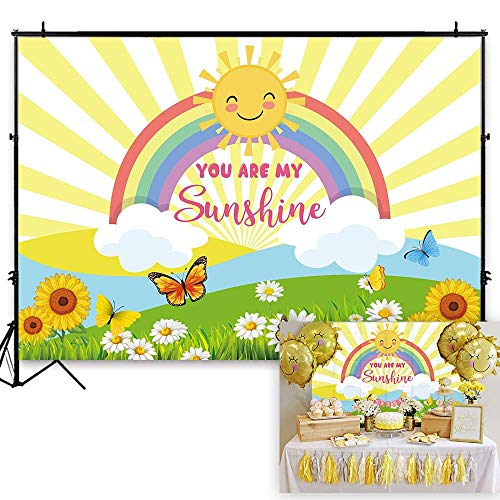Funnytree 7x5ft You are My Sunshine Party Backdrop Sun Rainbow Princess Girl Baby Shower Birthday Photography Background Cartoon Yellow Stripes Sunflower Cake Table Decoration Photo Booth - Birthday Invitations Yellow