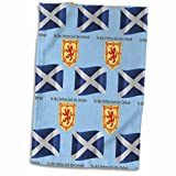 3dRose 777images Flags and Maps - Europe - Scotland flag, coat of arms and motto pattern on light blue background - 12x18 Hand Towel (twl_165747_1)