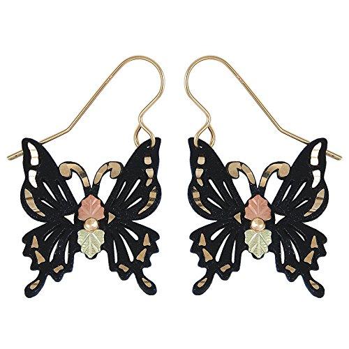 Black Hills Gold Butterfly Earrings in 925 Sterling Silver (Black Hills Gold Butterfly Earrings)