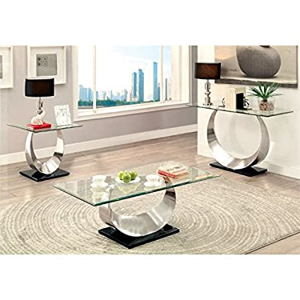 Furniture Of America Suse 3 Piece Coffee Table Set In Satin Plated