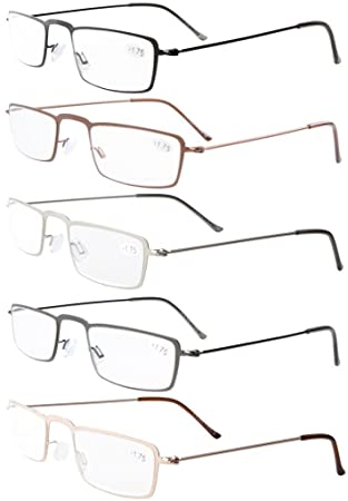 7c2a3af4b6 5-Pack Straight Thin Stamped Metal Frame Half-eye Style Reading Glasses  Readers  Amazon.co.uk  Health   Personal Care