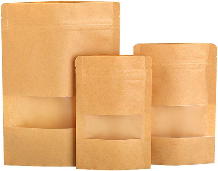 100pcs Kraft paper stand-up pouch, with plastic window and tear-open zipper paper bags, waterproof, reusable sealed folding paper bag, storage and packaging nuts coffee tea food (5.5x9.4in(14x20+4cm))