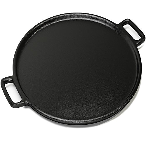 Cast Iron Pizza Pan - 14 Inch - Evenly Bakes and Heats Your Pizza - Works with all kinds of ovens - Strong handles and a small lip to avoid spills and mess