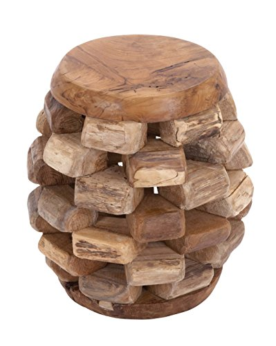 Deco 79 38424 Wood Teak Stool, 15'' x 17'', Brown by Deco 79