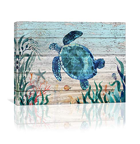 Art Canvas Sea - Home Wall Art for Bathroom Sea Turtle Wall Decor Bathroom Decor Prints Canvas Wall Art Ocean Decor Small Framed Artwork for Walls Vintage Paintings on Canvas Prints, 12''x16'' inch