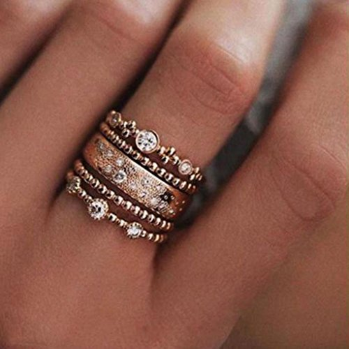 Clearance Rings Daoroka 5Pcs/Set Crystal Rose Gold Stackable Ring 5 Sparkly Rings Vintage Boho Jewelry Gift (8, Gold) ()