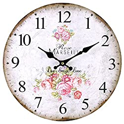 Shabby Chic Pink Rose Live, Laugh, Love Wall Clock