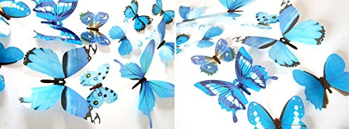 Meet&sunshine 12pcs Decal Wall Stickers, Home Decorations 3D Butterfly Rainbow (Blue)