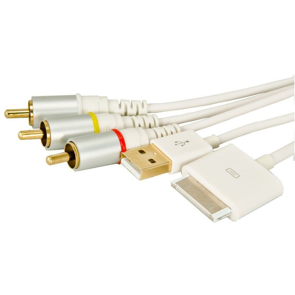 AV Video to TV Composite RCA Cable USB Charge for iPad iPod Touch iPhone 4S BE