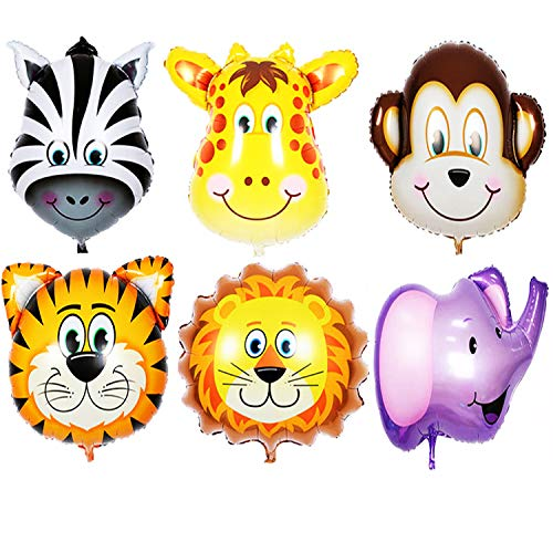 Jungle Animals Balloons, Giant Zoo Animal Balloons Kit for Jungle Safari Animals Theme Birthday Party Decorations Supplies - 6 Pack