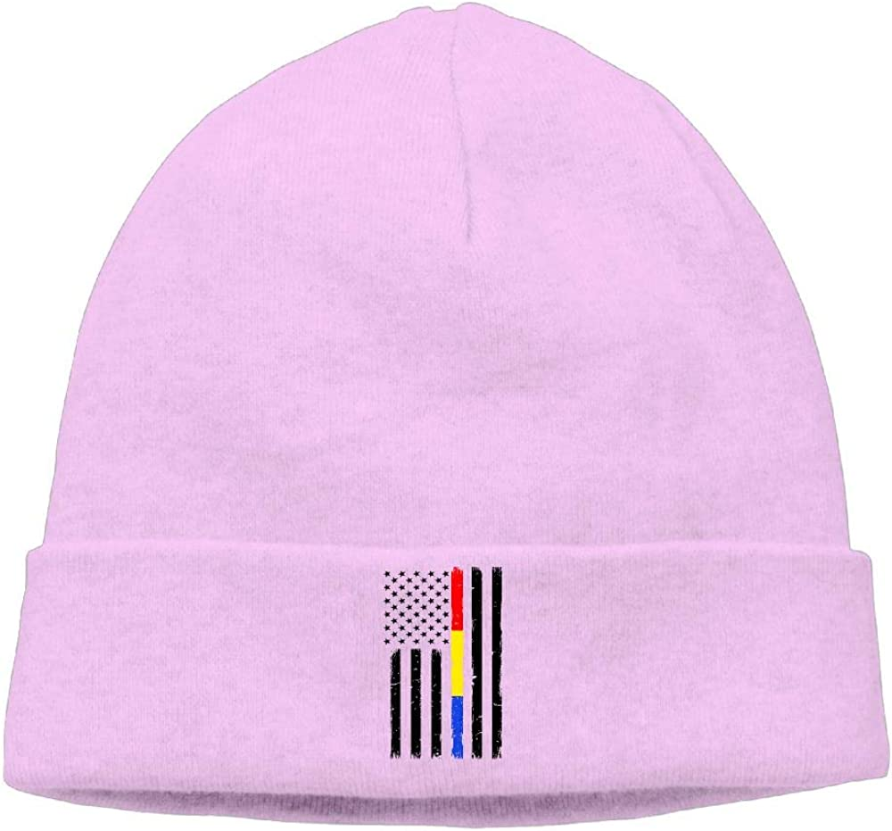 Cgi03T-2 Daily Woolen Cap for Men Women Thin Red Blue Gold Line Flag Beanie Hat