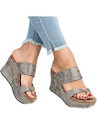 Women's Sandals Peep Toe PU Side Cutout Belt Buckle Blocking Hook-Loop Strappy Wedges Sandals Summer Shoes