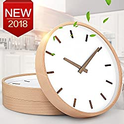 TXL Wall Clock Wood 12 Large Silent Non Ticking Wooden Wall Clocks with Stereo Scale, Battery Operated Round Digital Easy to Read Vintage Wooden Wall Clocks for Home/Office/School Clock(3)