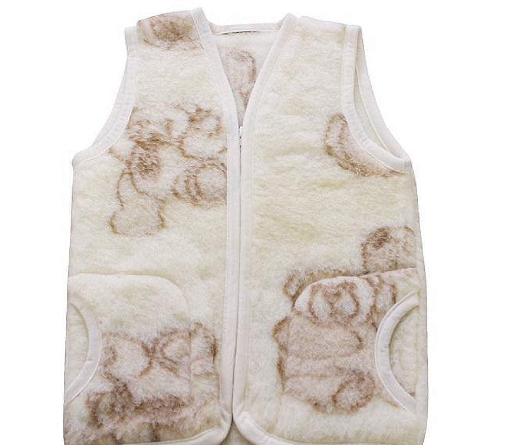 Merino Warme Babyweste Kinderweste Weste aus 100% Wolle Schafswolle, Gr.1-3 Jahre, Muster: Bärchen Muster: Bärchen