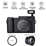 Digital Camera Camcorder, Weton Full HD 1080P Video Camera 24.0MP 3.0 Inch Flip Screen Vlog Camera LCD Mini Camcorders with Wide Angle Lens and Flash Light