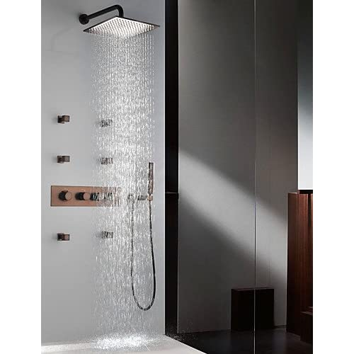 "SAEKJJ- Thermostatic Orb Finish Shower Faucet Set, 12"" Rainfall Shower Head And Spa Body Massage Spray Jets Bathroom faucet good"